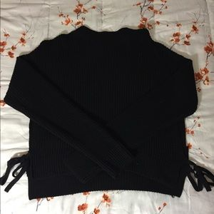 Black Tie-Hem Sweater